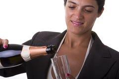 Het drinken van de vrouw champagne Royalty-vrije Stock Afbeelding