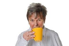 Het drinken van de vrouw koffie Stock Afbeelding