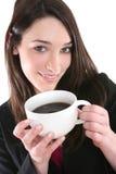 Het Drinken van de vrouw Koffie stock fotografie
