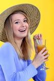 Het drinken van de vrouw sap Royalty-vrije Stock Fotografie