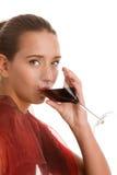 Het drinken van de vrouw wijn Stock Afbeelding