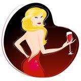 Het drinken van de vrouw wijnvector Stock Foto's