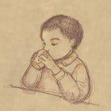 Het drinken van het jonge geitje - schets op sepia document Stock Foto
