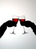 Het drinken van het paar wijnstok Stock Foto's