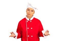 Het droevige chef-kokvrouw vragen Stock Afbeeldingen