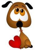 Het droevige Hart van de Valentijnskaart van de Holding van het Puppy van het Beeldverhaal Royalty-vrije Stock Foto