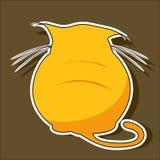 Het droevige oranje beeldverhaal van het kattensilhouet Stock Foto's