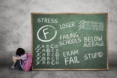 Het droevige schoolmeisje zit met haar ontbroken examenscore Stock Foto