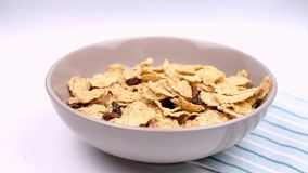 Het droge gezonde voedsel van het ontbijtgraangewas stock videobeelden
