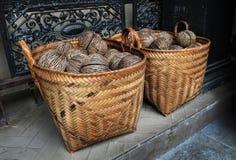 Het droge zaad van Cerbera oddloam met mand (Pong -pong, Othalanga, s Stock Afbeelding
