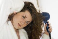 Het drogen van het haar reeks 3 stock foto's
