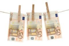 Het drogen van Vijftig Euro Rekeningen Royalty-vrije Stock Fotografie