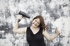 Het drogende haar van de vrouw Royalty-vrije Stock Foto's