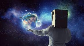 Het dromen om ruimte te onderzoeken Gemengde media Stock Afbeeldingen