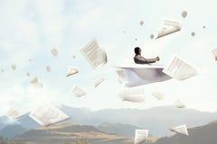 Het dromen om vliegenier te zijn Gemengde media Stock Fotografie