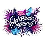Het dromen van Californië hand geschreven van letters voorziende tekst vector illustratie