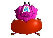 Het dromen van liefdevarken Dromerig varken Piggy neer Droom over liefde stock illustratie