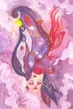 Het dromen vrouwengezicht met surreal haar stock illustratie