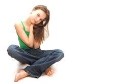 Het dromende jonge prettige meisje de tiener Stock Afbeeldingen