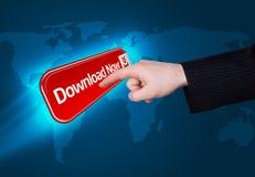 Het drukken van de hand de download knoopt nu dicht Royalty-vrije Stock Afbeeldingen
