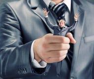 Het drukken van kleine zakenman Stock Foto