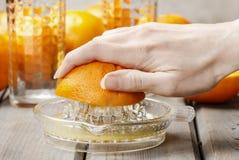 Het drukken van sinaasappelen Stock Foto