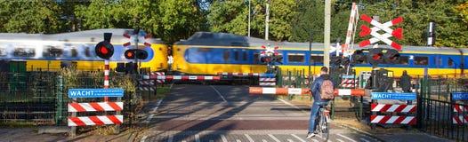 Het dubbel van de spoorspoorwegovergang royalty-vrije stock afbeelding
