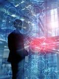 Het dubbele mechanisme van blootstellingstoestellen op vage achtergrond Bedrijfs en industrieel procesautomatiseringsconcept Het  royalty-vrije stock afbeeldingen
