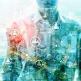 Het dubbele netwerk structureÑŽÑŽ u van blootstellingsmensen - van de Personeelsbeheer en rekrutering concept stock illustratie