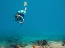 Het duiken aan de bodem van overzees II Stock Foto's