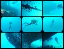Het duiken collage royalty-vrije stock afbeelding