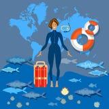 Het duiken de duik van de toerismewereld Stock Fotografie
