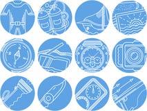 Het duiken objecten blauwe ronde pictogrammen Royalty-vrije Stock Afbeelding