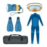 Het duiken onderwater het materiaal vectorillustratie van de kostuumscuba-uitrusting stock illustratie