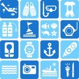 Het duiken pictogrammen royalty-vrije illustratie