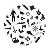 Het duiken pictogrammen Royalty-vrije Stock Afbeeldingen