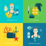 Het duiken pictogrammensamenstelling Royalty-vrije Stock Afbeeldingen