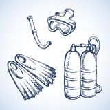 Het duiken snorkelt en beschermende brillen Vector tekening stock illustratie