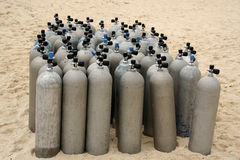 Het duiken tanks Stock Foto