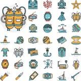 Het duiken vlakke pictogrammeninzameling royalty-vrije illustratie