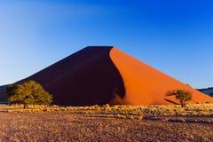 Het duin van de zonsondergang in Namib woestijn, Zuid-Afrika Stock Foto's