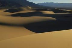 Het duingolven van het zand bij zonsondergang Stock Afbeelding