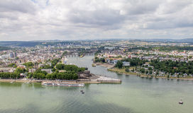 Het Duitse Hoek (Deutsches Eck) monument in Koblenz, Duitsland Stock Foto's