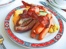 Het Duitse Ontbijt van het Bacon van Worsten Royalty-vrije Stock Fotografie
