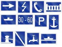 Het Duitse teken van de binnenwaternavigatie - Geadviseerde reisrichting Stock Afbeelding