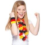 Het Duitse voetbalventilator glimlachen stock afbeeldingen