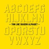 Het dunne alfabet van de lijnschaduw Stock Afbeeldingen