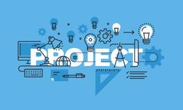 Het dunne concept van het lijnontwerp voor de banner van de projectwebsite Stock Fotografie