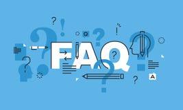 Het dunne concept van het lijnontwerp voor FAQ-websitebanner royalty-vrije illustratie