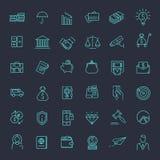 Het dunne geplaatste pictogram van het lijnweb - geld, financiën, betalingen stock illustratie